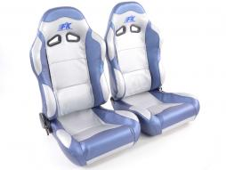 Sportseat Set Spacelook Carbon artificial leather grey/blue