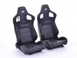 FK sedili sportivi sedili di due pezzi Set Stuttgart in pelle artificiale nero Carbon-Look