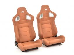 FK sport seats half bucket seats Set Stuttgart artificial leather brown