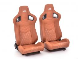 FK sport seats half bucket seats Set Stuttgart artificial leather brown/silver