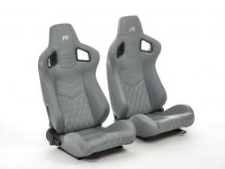 FK sport seats half bucket seats Set Stuttgart artificial leather grey/silver