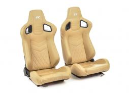 FK sport seats half bucket seats Set Stuttgart artificial leather beige/silver